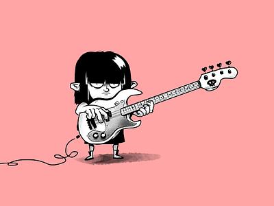 Small troll, big BASS rock guitar bass troll music monochrome characters illustration
