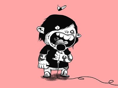 Emo troll troll emo rock music monochrome characters illustration