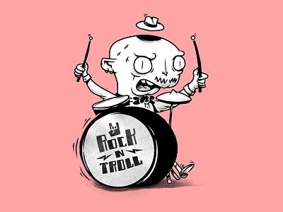 Troll on drums rock trolls troll drum music monochrome characters illustration