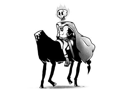 Headless horseman on his headless horse skull gothic horse headless head humor monochrome characters illustration