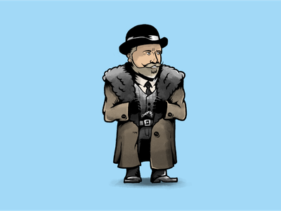 Oswaldo Mobray, also known as English Pete Hicox movie tarantino western character design characters illustration