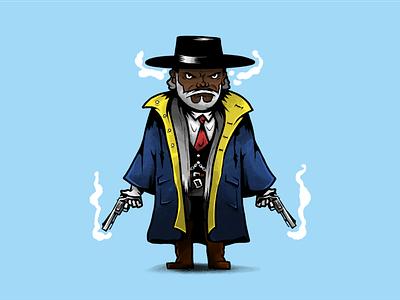 Major Marquis Warren, bounty hunter movie cinema tarantino western charavter design characters illustration