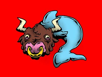 Dolphin Bull mixed animals bull dolphin mutants mutation humor characters illustration