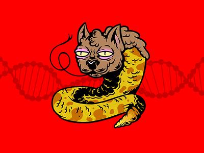 Snake Cat pets cat snake toxic mutants character design mutation humor characters illustration