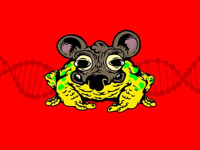 Toad Rat genetics dna animals mixed mix mutants mutation rat toad humor characters illustration
