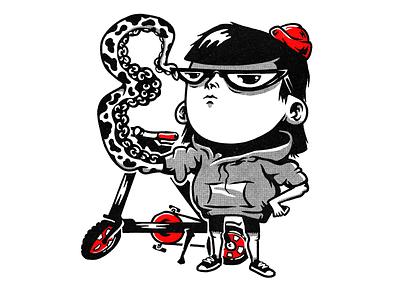 Girl in red beanie halftone tentacle strida bicycle bike beanie girl monochrome characters illustration