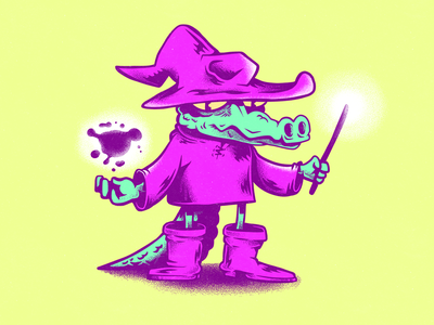 Wizardile crocodile animals magic wizard characters illustration