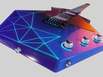 A Guitar of the Future substance painter music electric guitar tech sci-fi game asset futuristic blender3d 3d artist