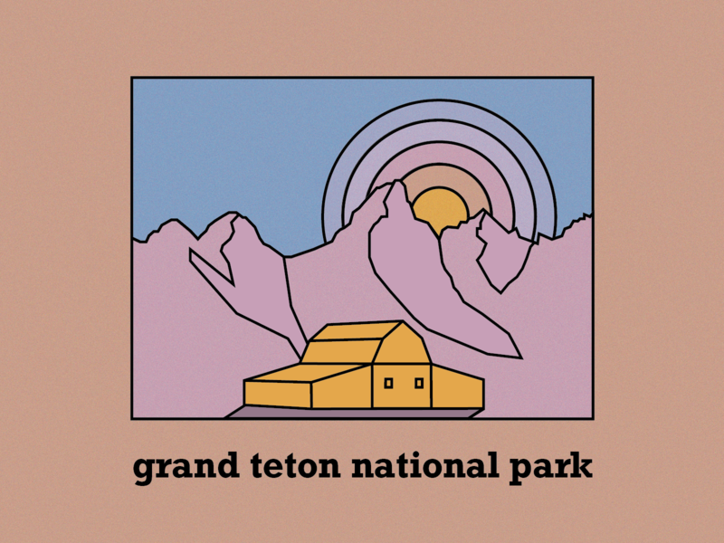 Grand Tetons graphic typography mountains grand teton nps national park camping vector illustration design