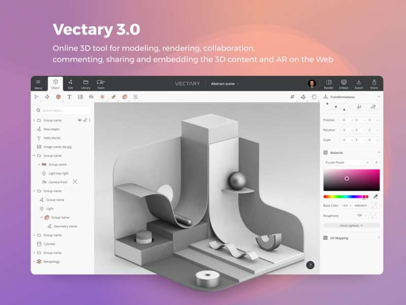 Vectary 3.0 — 3D and AR content creation tool product interface tool design web software ui ux app online vr mr vectary 3d ar