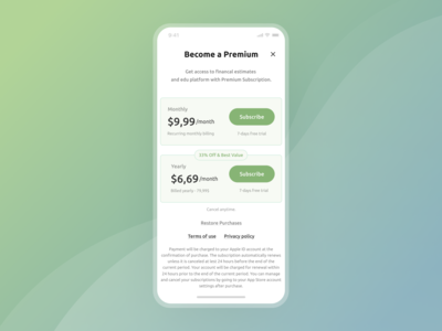 Pricing Screen in Mobile App
