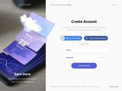 Signup Form – Social and Email