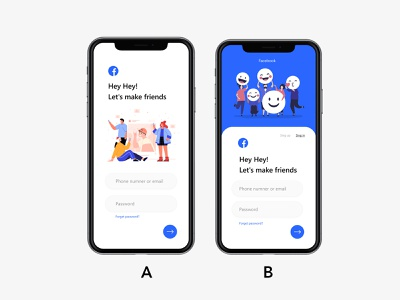 Facebook sing in or sing up , Which one do you like? post dailyui choose fashion redesign design illustration ui app design mobile ui social app sing in sing up sing facebook