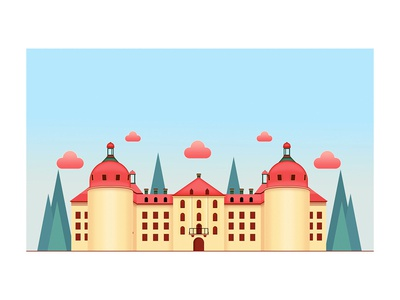 Castle building illustration