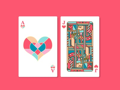 Poker Hearts A and hearts J