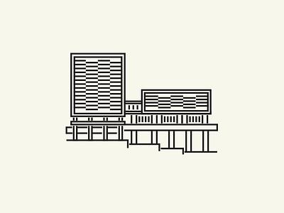 Library building landmark illustration architecture bloomington