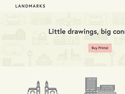 Landmarks Website illustration web icons landmarks bloomington cream pink
