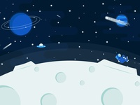 Over The Moon spaceship transparent stars astronaut shooting star zoom background zoom graphic blue illustration illustrator alien outerspace space moon