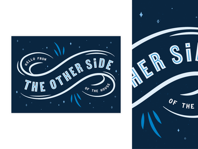 Hello From the Other Side postcard print loop infinity stayhome house hello social distancing lettering hand lettering typedesign type vector branding photoshop blue graphic illustration illistrator design