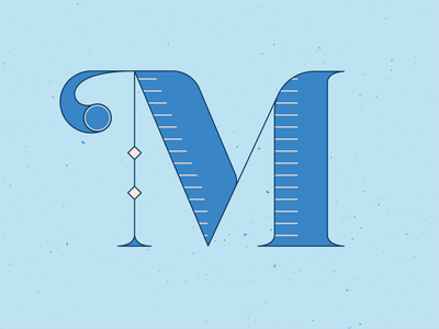 36 Days of Type M letter orange graphic design series 36daysoftype13 letters hand lettering hand drawn handlettering 36 days of type 36daysoftype lettering vector illustrator blue illustration graphic design