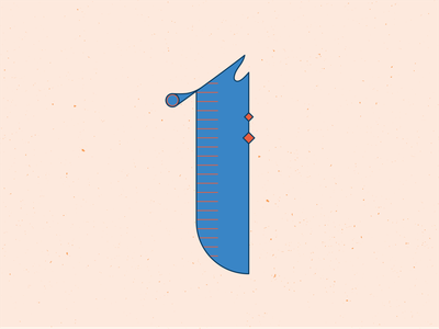 36 Days of Type 1 1 numbers typogaphy type typeface series hand lettering letters lettering 36 days of type 36daysoftype vector blue illustrator illustration graphic design
