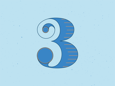 36 Days of Type 3 numbers typography typeface type letters handlettering 36 days of type 36daysoftype vector illustrator blue illustration graphic design