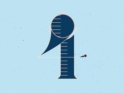 36 Days of Type 4 type design 4 number texture orange series typography typeface type handlettering lettering vector blue illustrator 36 days of type 36daysoftype illustration graphic design