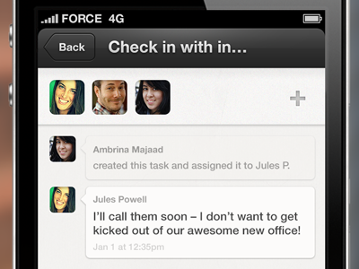 Talk it out. activity chat comments discussion feed ios mobile tasks projects do facepile