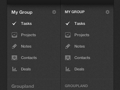 A Tale Of Two Sidebars sidebar navigation tasks projects contacts deals icons source view nav webapp css code