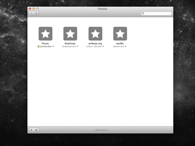 Apps you're working on. rails server localhost mac desktop tokaido rails 4 tools developers ruby logs console