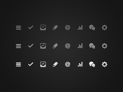 Sidebar Icons menu navigator tasks projects project action notes text editor contact email deals profit char chat messages gear