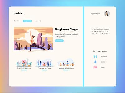 Foodsie - A yoga app website web design webdesign website design yoga yoga app dashboard ui dashboard design dashboad branding landing page landing hero cta gradient