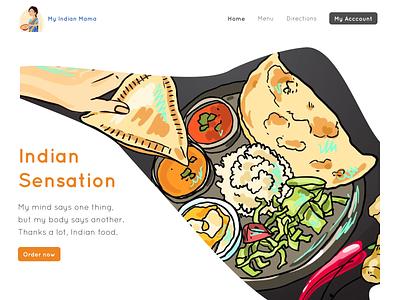 Indian Sensation restaurants restaurant food illustration food cta hero branding landing page landing website design website web design webdesign