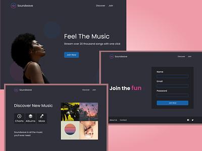 Soundwave streaming service streaming streaming app music music app cta hero landing page landing website design website web design webdesign