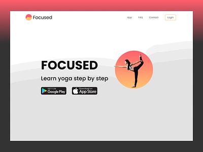 Focused yoga app yoga hero cta landing page landing website design website web design webdesign