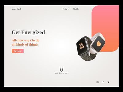 Smart Watch UI smartwatch gradient hero cta landing page landing website design website web design webdesign