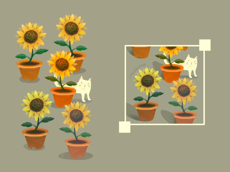sunflowers with cat animal cat illustration