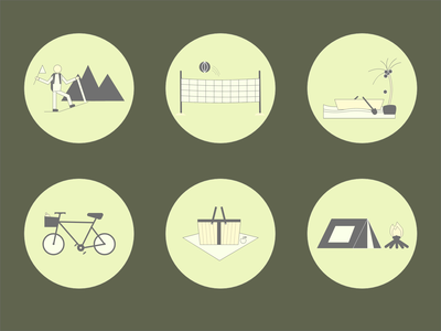 Outdoor Activity Icon Set (Dribbble Weekly Warm-Up) weeklywarmup dribbble vectoricon illustration iconset icondesign icon design vector