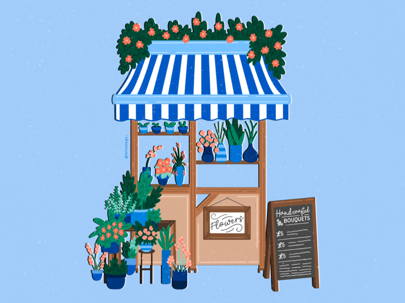 Flower Stall limited color palette graphic design flower illustration illustrator floral art digital painting procreate illustration digital art