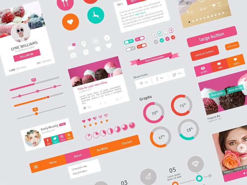 Freebie - Flat Design User Interface Elements flat design freebie pink timeline ui
