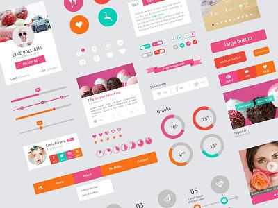 Freebie - Flat Design User Interface Elements flat design freebie pink timeline ui