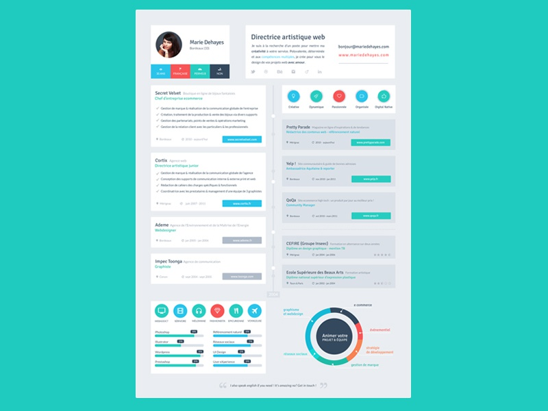 resume flat design timeline by marie dehayes dribbble