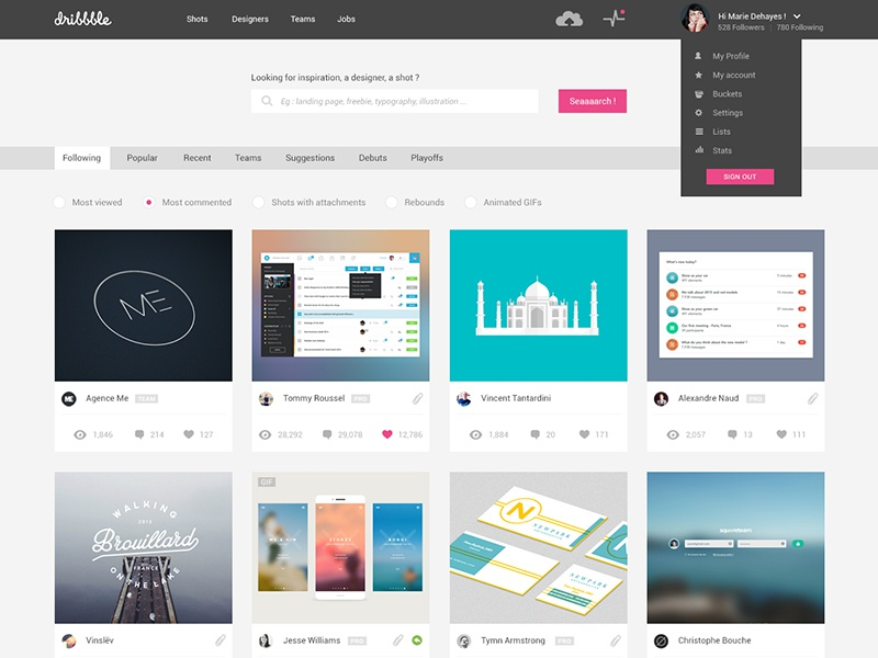 Dribbble Redesign - Home dribbble redesign flat design ui clean