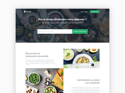 Lunchr website - home landing page product design clean startup foodtech