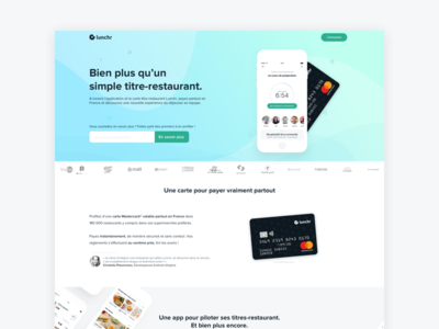 Lunchr website - home homepage fintech startup product design landing page foodtech clean