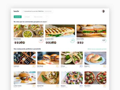 Lunchr restaurant feed web minimalist feed restaurant card lunchr