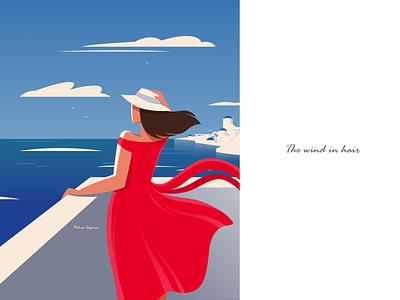 The wind in hair packagedesign graphic design art gfxmob blue illustrations digitaldraw flatillustration ocean summer adobeillustrator vectorart artwork illustration illustrator