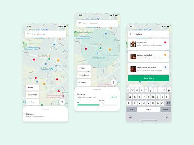 24Hours London maps sketchapp clean discover list view distance app mobile app ui map