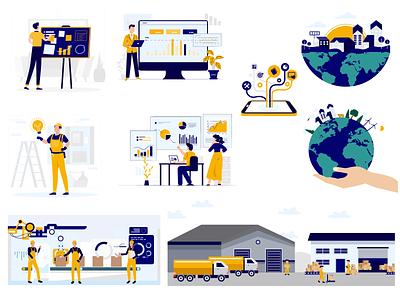 Illustrations for UrbanVolt branding app web icon vector logo design