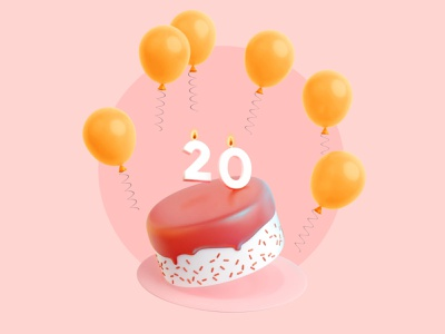 Cake! birthday cake birthday sprinkles streamers fire flame candles icing balloons cake design 3d type illustration